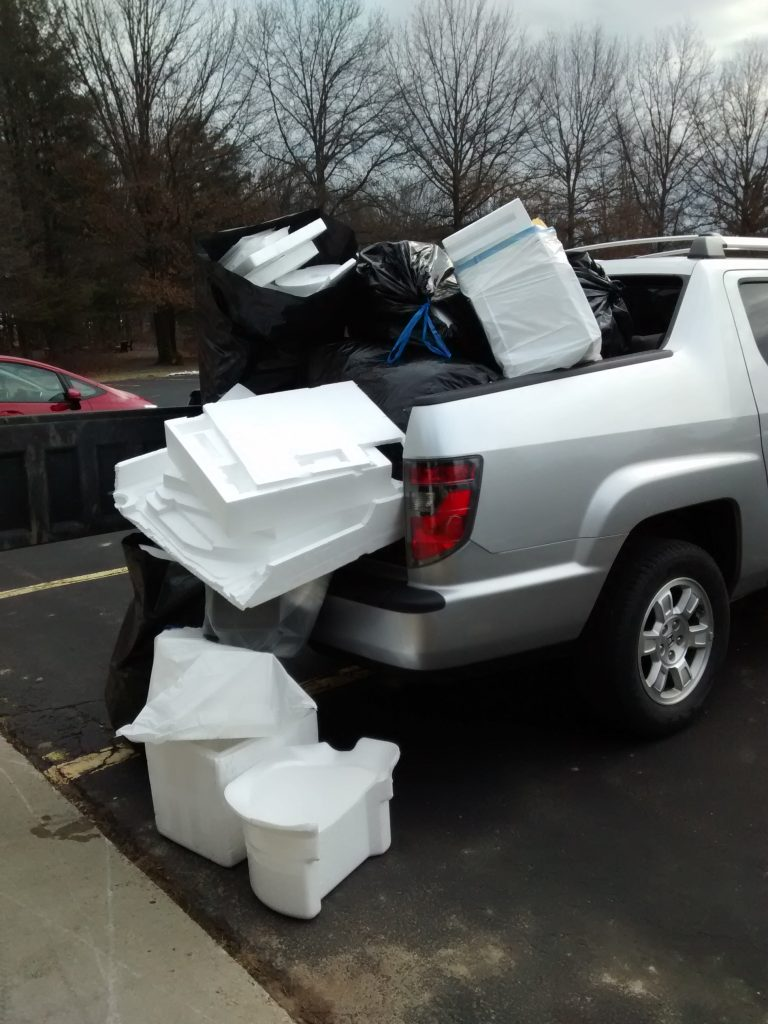 Pickup truck loaded with styrofoam