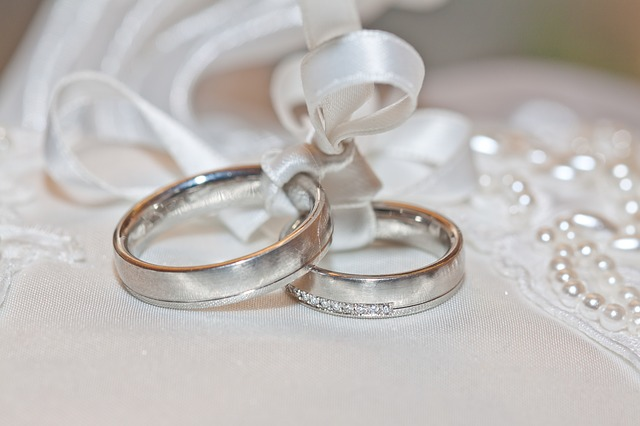Wedding Rings tied with white ribbon
