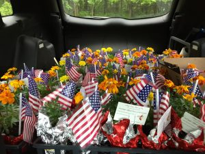 marigolds and american flags in flower pots